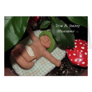 ポリマー粘土のベビー、Toadstools: ベビーシャワー カード