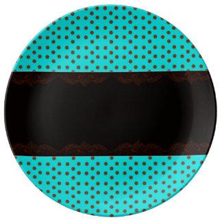 ポルカのティール(緑がかった色)のプレート 磁器プレート