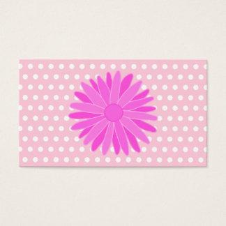 ポルカドットのピンクの花 名刺