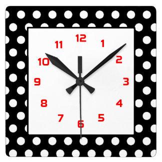 ポルカドット黒及び白 スクエア壁時計
