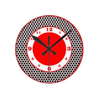 ポルカドット黒、白及び赤 ラウンド壁時計