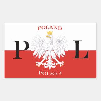 ポルスカの白のワシのポーランドの旗 長方形シール