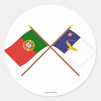 ポルトガルおよびアゾレスの交差させた旗 ラウンドシール