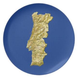 ポルトガルの地図のプレート プレート