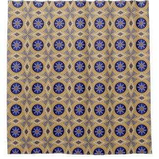 ポルトガルの青および黄色のセラミックタイルパターン シャワーカーテン