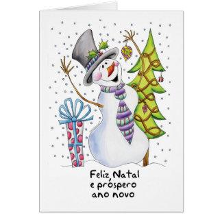 ポルトガルの-雪だるま-幸せな雪だるま-出生Feliz カード