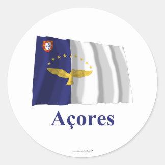 ポルトガル語の名前の旗を振るアゾレス ラウンドシール