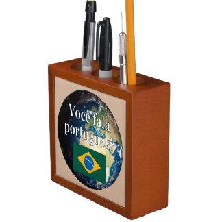 ポルトガル語を話しますか。 ポルトガル語。 旗及び地球 ペンスタンド