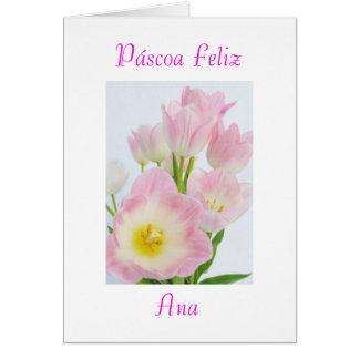 ポルトガル語: Páscoa Feliz-tulipas /Happyイースター カード