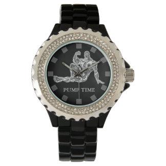 ポンプ時間ボディービルダーの腕時計 腕時計
