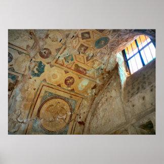 ポンペイのアーチ形にされた天井の壁画 ポスター