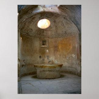 ポンペイのローマの浴室の家 ポスター