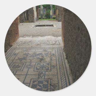 ポンペイ|モザイク|床 丸形シール・ステッカー