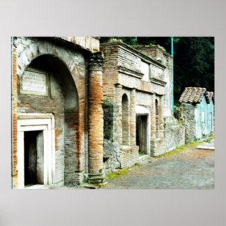 ポンペイ-寺院が付いている市場の台なし ポスター