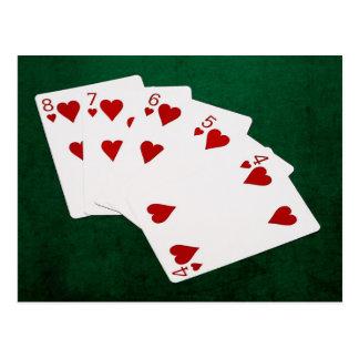 ポーカーの持ち札-ストレート・フラッシュ-ハートのスーツ ポストカード