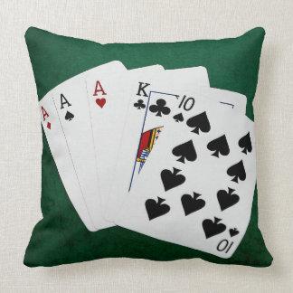 ポーカーの持ち札-スリーカード-エース クッション