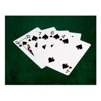 ポーカーの持ち札-同じ高さの-スペードのスーツ ポストカード