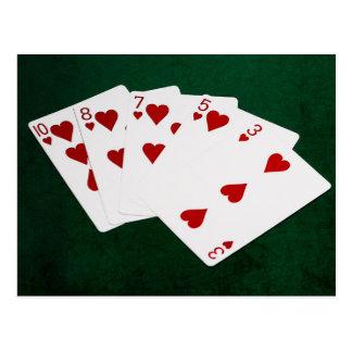 ポーカーの持ち札-同じ高さの-ハートのスーツ ポストカード