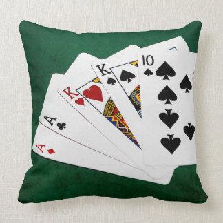 ポーカーの持ち札- 2組-エース、王 クッション