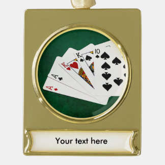 ポーカーの持ち札- 2組-エース、王 ゴールドプレートバナーオーナメント