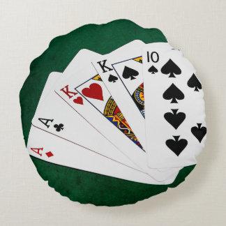 ポーカーの持ち札- 2組-エース、王 ラウンドクッション