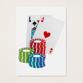 ポーカー用のチップが付いているブラックジャック 名刺