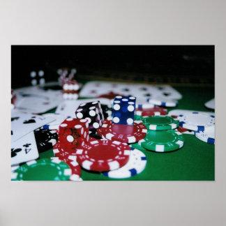 ポーカー用のチップ、カードおよびサイコロ ポスター