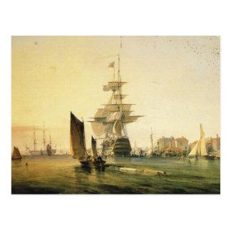 ポーツマス1835年に入るHMS Britannia ポストカード