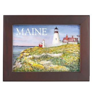ポートランドヘッド灯台メインの水彩画の絵画 ジュエリーボックス