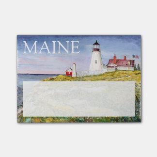 ポートランドヘッド灯台メインの水彩画の絵画 ポストイット