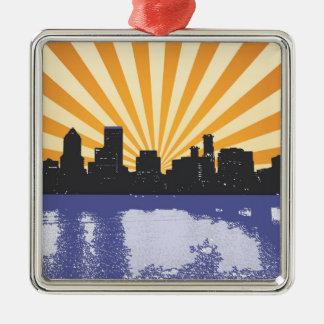 ポートランド都市景観のポップアート メタルオーナメント