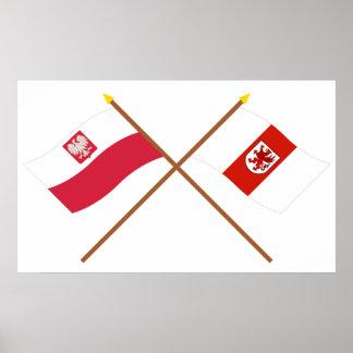 ポーランドおよびZachodniopomorskieの交差させた旗 ポスター