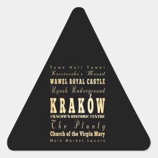 ポーランドのタイポグラフィの芸術のKraków都市 三角形シール