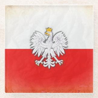 ポーランドのポーランドの旗のコースター ガラスコースター