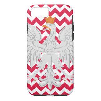 ポーランドのワシの赤と白のシェブロンパターン iPhone 8/7ケース