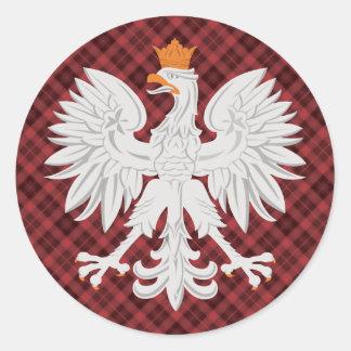 ポーランドのワシの赤の格子縞 ラウンドシール