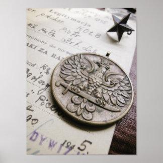 ポーランドのワシ戦争メダルプリント ポスター