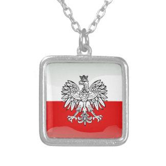 ポーランドの光沢のある旗 シルバープレートネックレス