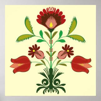 ポーランドの刺繍の花模様、ポスター ポスター
