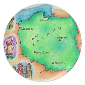 ポーランドの地図 プレート