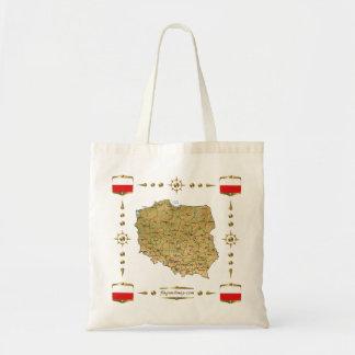 ポーランドの地図 + 旗のバッグ トートバッグ