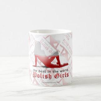 ポーランドの女の子のシルエットの旗 コーヒーマグカップ