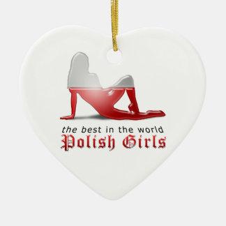 ポーランドの女の子のシルエットの旗 セラミックオーナメント