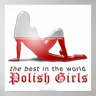 ポーランドの女の子のシルエットの旗 ポスター