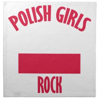 ポーランドの女の子の石のデザイン ナプキンクロス