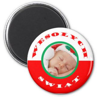 ポーランドの旗およびクリスマスの挨拶の写真の磁石 マグネット
