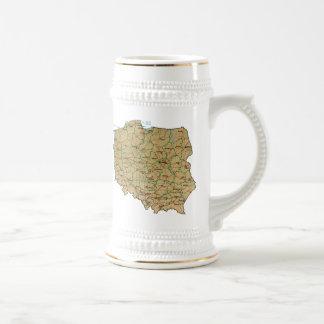 ポーランドの旗の~の地図のマグ ビールジョッキ