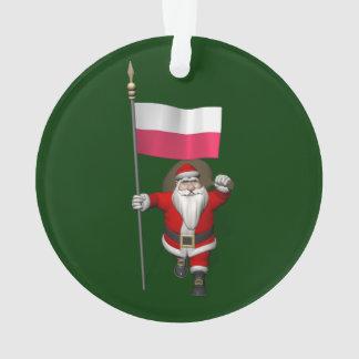 ポーランドの旗を持つサンタクロース オーナメント