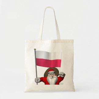 ポーランドの旗を持つサンタクロース トートバッグ