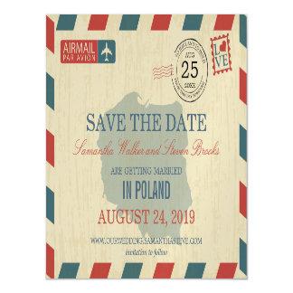 ポーランドの旧式な航空郵便の保存日付 マグネットカード
